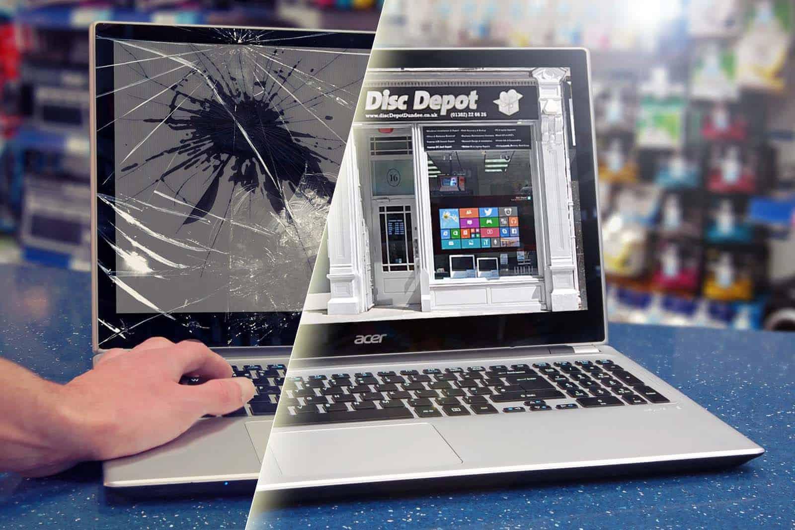 Broken Laptop Screen Repair